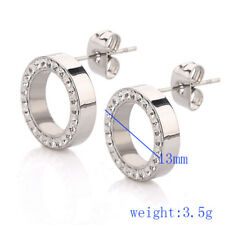 Fashion Women Shining Stainless Steel Crystal Rhinestone Hoop Earring Ear Studs