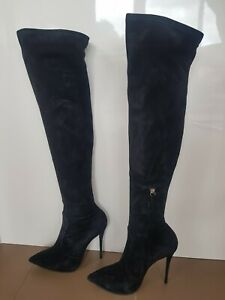 Giuseppe Zanotti Over The Knee Black Suede Boots - Yvette High Heel - 40