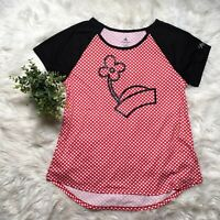 Disney Park Women Lg Minnie Mouse Red Polka Dot Short Sleeve Shirt Embroidered