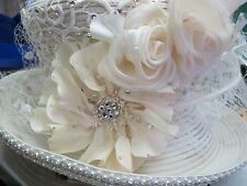 Shellie Mcdowell White Church Derby Hat White Embellished Feathers Rhinestones