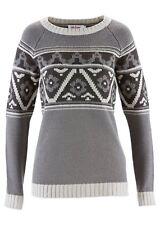 Norweger Winter Pullover Gr 44 46 L Strickpullover für Damen Grau oder Rot neu