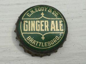 Vintage Used Cork Lined CH Eddy & Co Brattleboro VT Ginger Ale Soda Bottle Cap