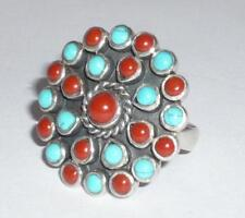 RED CORAL TURQUOISE NATIVE SILVER RING SIZE M 1/2 925 JEWELLERY