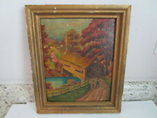 "Antique Framed Art Print 10 x 12"" Covered Bridge with Children - Distressed"