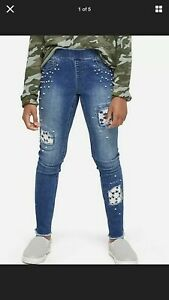 Girls Justice Leggings Pearl + Lace Jeans Size  14 N/W Tag