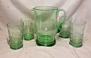 Vintage Stuart Crystal Stratford Green Lemonade Jug/Pitcher plus Four Glasses