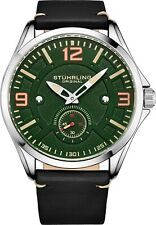 Stuhrling Men's Japanese Quartz Green Dial Grey Leather Strap Aviator Watch