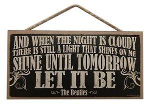 "LET IT BE The Beatles Primitive Wood Hanging Plaque 5"" x 10"""