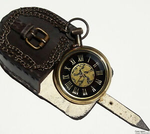 Vintage Solid Brass Working Pocket Watch With Leather Case For Birthday Gift
