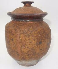 VINTAGE BROWN EARTHENWARE EARN / LIDDED POT SIGNED!