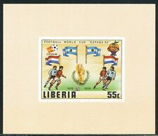 LIBERIA 1981 World Cup Spain 1982 cpl.set + MS U/M VARIETIES ALL IMPERFORATED MS