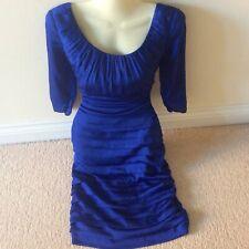 "Designer Coast Royal blue dress in a satin effect 10 28"" waist party xmas eve"