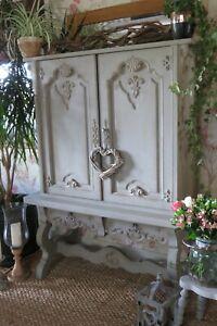 Antique Grey rustic carved solid wood Drinks cabinet, dresser, cupboard.