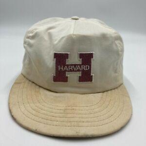 Vintage Harvard University Hat Cap White Snap Back