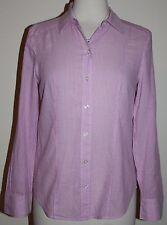 Ann Taylor Size 4 Striped Button Front Shirt Blouse Light Pink Purple Pink 4