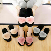 Womens Flat Fur Fluffy Sliders Slippers Ladies Slip On Flip Flops Shoes