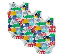 new car design sleeveless baby vests, grow, romper, 0-24 months pack of 3 or 6