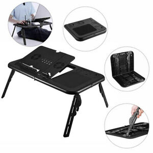 Adjustable Laptop Stand With USB Cooler Fan Portable Foldable Bed Tray Lap Table