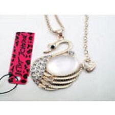 Lovely New Betsey Johnson Swarovski Crystal Gold Cat's Eye Swan Pendant Necklace