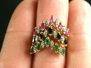 Set of 3 14K Solid Yellow Gold Gemstone Diamond V Tiara Stackable Rings