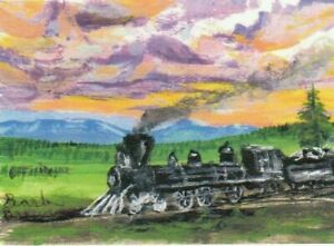 """ACEO/2.5X3.5 LTD Print """"Blue Mountain Express"""" Train painting by artist #180"""
