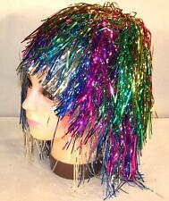 6 TINSEL COLOR HAIR WIGS novelty dressup party wig supplies dressup costume new