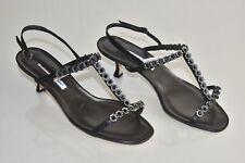 New MANOLO BLAHNIK Jeweled Black Strappy SANDALS SHOES Kitten Heels 40.5