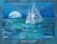 Original ACEO - Sail by Moonlight - Abstract - miniature acrylic painting