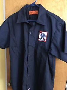 Dickies Men's L Navy Blue Pabst Short Sleeve Button Down Work Shirt