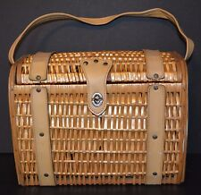 Vtg Wicker Purse Square Lacquered Willow Handbag