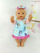 """Dolls clothes for 17"""" BABY BORN~CPK DOLL~BLUE DOGS PINAFORE~PINK TOP~HAIR BOW"""