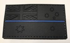 Thin Blue Line Rubber / PVC Patch Australian Flag Hook Black Police TBL