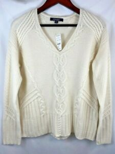 Brooks Brothers Pure Cashmere White Ivory Cable Knit V Neck Sweater Small NWT
