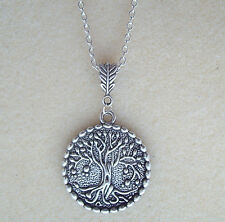 """Sacred Tree of Life Pendant 24"""" Long S/P Chain Necklace - Pagan Celtic Wiccan"""