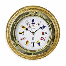 WALL CLOCKS - BRASS PORTHOLE WALL CLOCK WITH NAUTICAL FLAG DIAL FACE - OAK BASE