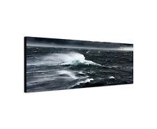 120x40cm Hochsee schwarz weiß Panorama Sturm Wellen Gischt Leinwand Bild Sinus