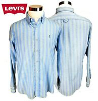Levi's Shirt Western Cowboy Logo SZ Large Long Sleeve Blue Striped Button Up