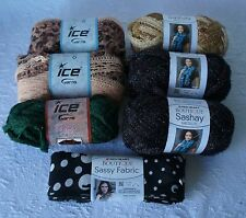 Lot of 7 Assorted Yarns, Ice Mesh, Ice Belly Dance, Red Heart Boutique Sassy