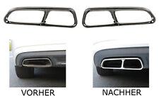 2 x Auspuffblenden Edelstahl Abdeckung Auspuff S-Look für Audi A6 C7 A7