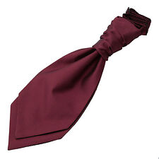 DQT Woven Plain Solid Check Burgundy Wedding Pre-Tied Boys Cravat Free Pin