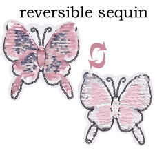 Butterfly Reversible Change color Sequins Sew On Patches DIY Patch Applique UK