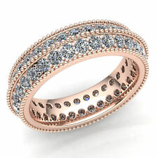 2Row Stackable Eternity Band Ring 10K Gold Natural 2 Ct Round Cut Diamond Ladies