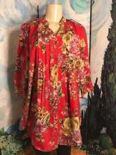 Denim 24/7 XL New Coral Floral Button Down Front Pleats 3/4 Tab Sleeve Tunic Top