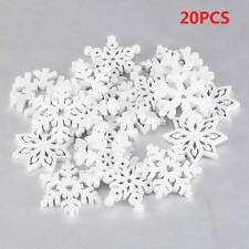 20pcs White Mini Wooden Snowflakes Hanging Christmas Tree Ornaments Home Decor