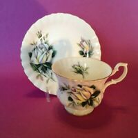 Royal Albert Pedestal Cup And Saucer - Helen - White Sweetheart Roses - England