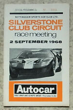 SILVERSTONE 2 Settembre 1968 NOTTINGHAM Sports Car Club Race Meeting programma
