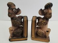 Vintage Pair of Pottery Pale Pink POODLE Bookends Japan