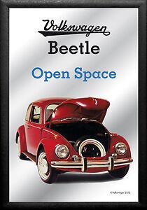 VW Volkswagen Beetle Space Nostalgie Barspiegel Spiegel Bar Mirror 22 x 32 cm