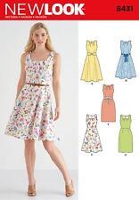 NEW LOOK SEWING PATTERN MISSES' DRESS SKIRT & NECKLINE VARS SIZE 8 - 18  6431