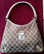 BORSA GUCCI USATA - ABBEY D RING HOBO GG HANDBAG USED - CANVAS AND GOLD LEATHER